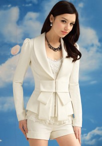 White Plain Bow Slim Blazer