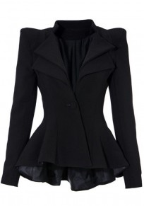 Black Plain Swallowtail Double-deck Peplum Lapel Sharp Shoulder Pad Fashion Daily Blazer
