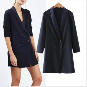 Navy Blue Plain Buttons 3/4 Sleeve Turndown Collar Blazer