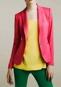 Rose Carmine Buttons Pockets Peak Lapel Fashion Slim Blazer