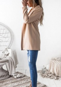 Apricot Draped Notch Lapel Fashion Blazer