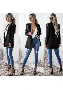 Black Draped Notch Lapel Fashion Blazer