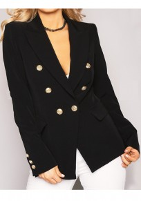 Black Buttons Peak Lapel Long Sleeve Office Worker Blazer