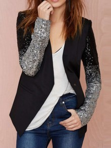 Black Patchwork Sequin Glitter Buttons Long Sleeve Lapelless Work Blazer
