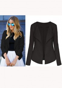 Schwarze Umlegekragen 3/4 Ärmel Elegante Anzug Jacken Office Business Blazer Damen Mode