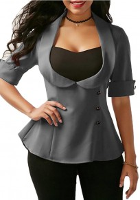 Grey Tie Back Turndown Collar Fashion Suit