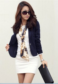 Blue Buttons Lapel Long Sleeve Fashion Suit