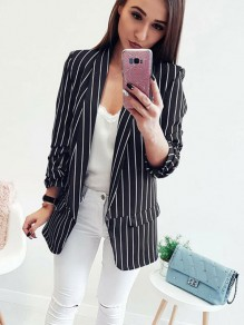 Black Striped Pockets Long Sleeve Fashion Blazer