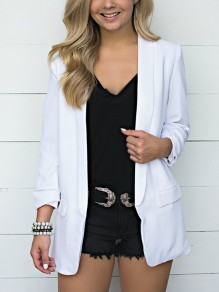 White Pockets Turndown Collar Long Sleeve Fashion Suit