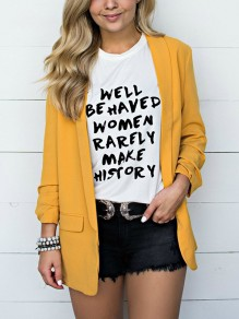 Yellow Pockets Turndown Collar Long Sleeve Fashion Suit