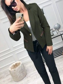 Army Green Buttons Pockets Long Sleeve Fashion Cardigan Suit