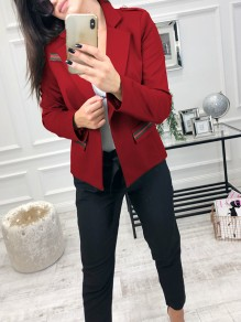 Red Buttons Pockets Long Sleeve Fashion Cardigan Suit