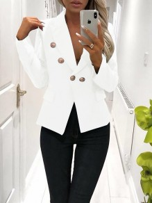 White Buttons V-neck Long Sleeve Fashion Blazer