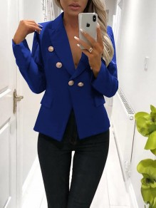 Blue Pockets Buttons Tailored Collar Long Sleeve Office Worker/Daily Suit