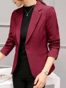 Wine Red Pockets Single Button Tailored Collar Long Sleeve Elegant Blazer