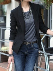 Black Pockets Buttons Tailored Collar Long Sleeve Elegant Blazer