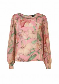 Pink Floral Round Neck Long Sleeve Polyester Blouse