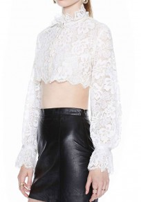 White Plain Crop Lace Ruffle Collar Sexy Blouse