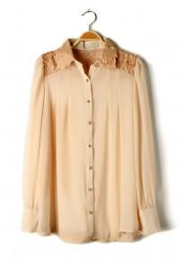 Apricot Mosaic Lapel Long Sleeve Chiffon Blouse