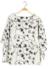 White Floral Print Collarless Half Sleeve Flax Blouse