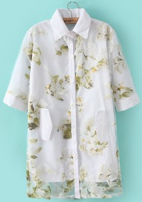 Green Floral Print Short Sleeve Polyester Blouse