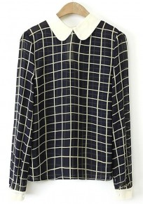 Multicolor Plaid Print Long Sleeve Polyester Blouse