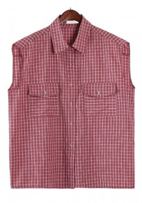 Red Plaid Pockets Sleeveless Cotton Blouse