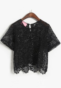 Black Plain Hollow-out Lace Blouse
