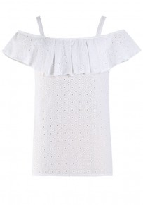 White Plain Falbala Lace Blouse
