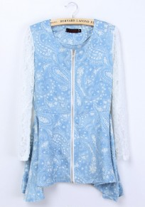 Blue Flowers Print Patchwork Irregular Wrap Lace Blouse