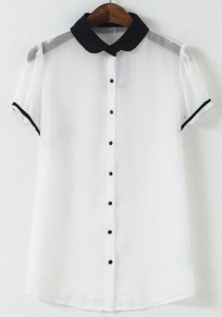 White Patchwork Single Breasted Blouse