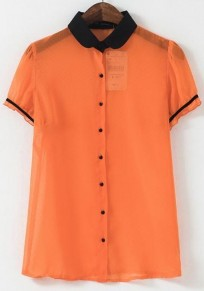 Orange Patchwork Single Breasted Blouse