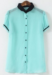 Mint Green Patchwork Single Breasted Blouse