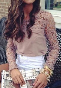 Pink Patchwork Lace Hollow-out Loose-fitting Sweet Fashion Blouse