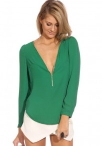 Green Plain Zipper V-neck Sexy Chiffon Blouse
