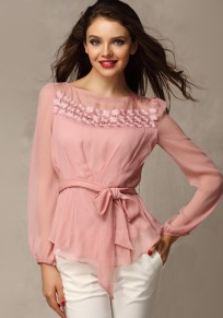 Lotus Pink Plain Belt Lace Long Sleeve Slim Sweet Blouse
