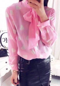 Pink Floral Bow Sweet Collarless Blouse