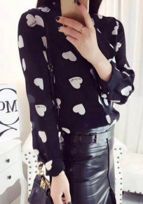 Black Floral Bow Sweet Collarless Blouse