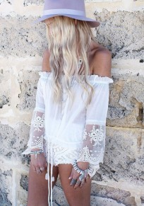 White Patchwork Lace Off-The-Shoulder Boat Neck Blouse