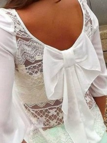 White Patchwork Grenadine Bow Round Neck Fashion Blouses