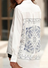 White Patchwork Pattern Turndown Collar Casual Cotton Blouse