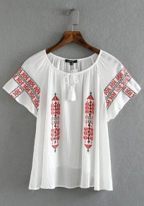 White Patchwork Drawstring Round Neck Casual Cotton Blouse