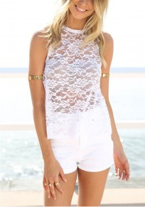 White Patchwork Lace Cut Out Round Neck Blouse