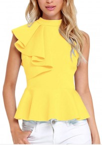 Yellow Plain Ruffle Pleated Zipper Band Collar Sleeveless Blouse