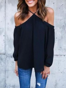 Black Plain Cut Out Pleated Long Sleeve Blouse