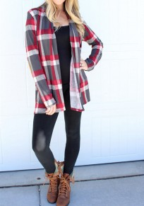 Red Plaid Long Sleeve Loose Casual Normal Blouse
