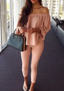 Pink Plain Boat Neck Long Sleeve Sexy Loose Blouse