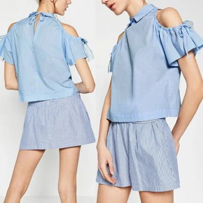 Blue Striped Bow Cut Out Peter Pan Collar Cute Blouse