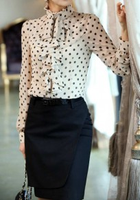 White Polka Dot Print Irregular Draped Collar Elegant Blouse