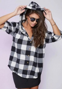 Black-White Plaid Pockets Buttons Hooded V-neck Elbow Sleeve Oversized Casual Blouse